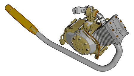 A pump is a device that moves fluids (liquids or gases) or something slurries by mechanical action It consume energy to perform mechanical work vector color drawing or illustration Ilustração