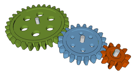 A sprocket or sprocket- wheel is a profiled wheel teeth or cogs that mesh with a chain track or other perforated or indented material vector color drawing or illustration