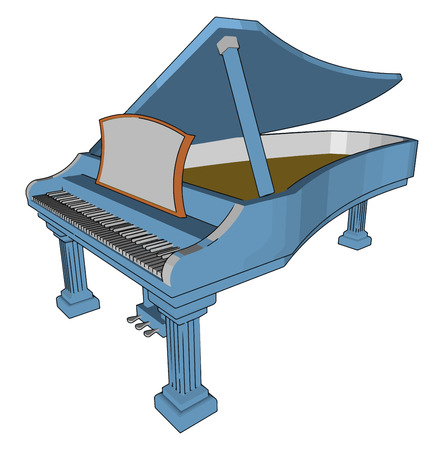 Grand piano is type of piano in which the frame and strings are horizontal It is an acoustic musical instrument vector color drawing or illustration