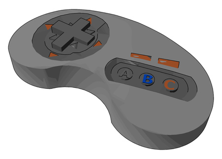 A game controller is a device used with games or entertainment systems to provide input to a video game vector color drawing or illustration