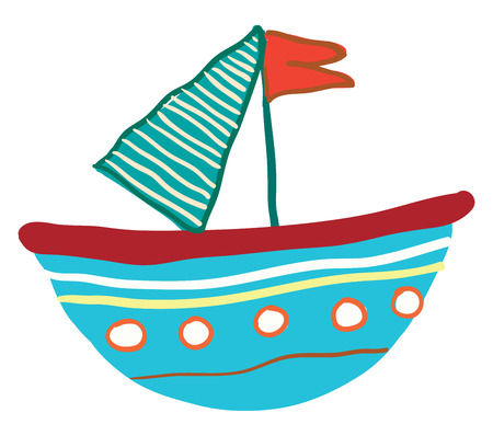 Small blue floating vessel with red flag vector color drawing or illustration