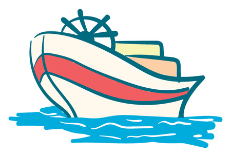 A modern yacht with steering wheels floating on the water vector color drawing or illustration