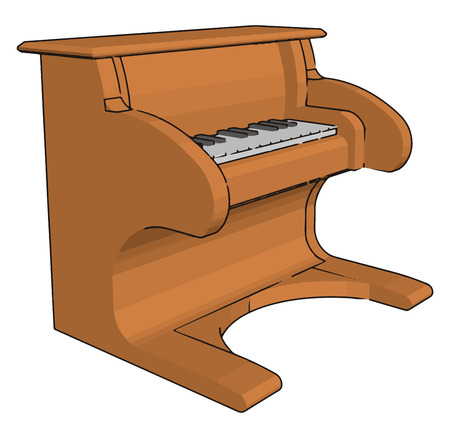 A player piano toy is a self-playing piano containing a pneumatic or electro-mechanical mechanism vector color drawing or illustration Banque d'images - 123451976