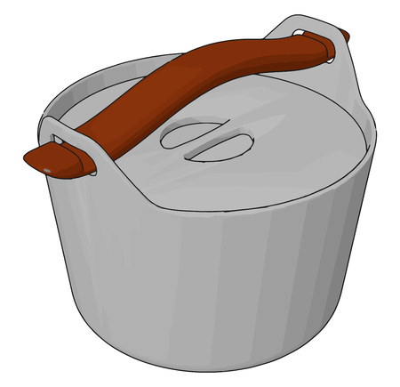 A small plastic bucket or box with handles to put some ingredients or something in it vector color drawing or illustration