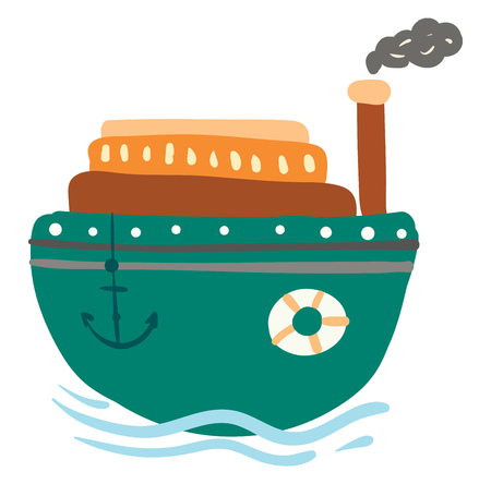 Green steam ship with anchor and life preserver vector color drawing or illustration