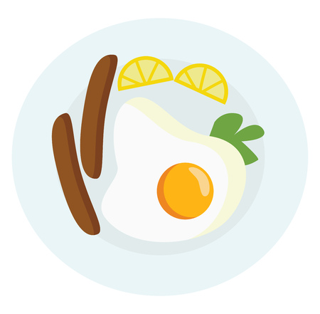 A yummy breakfast platter with sunny side up egg sausages greens and some fruits vector color drawing or illustration Stock Vector - 120905135