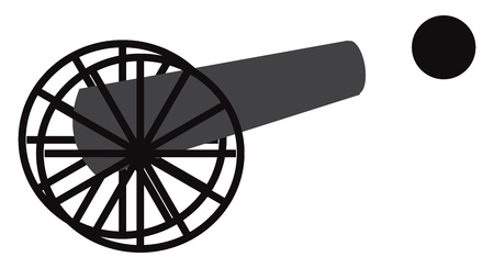 Clipart of ancient weapon cannon and cannonballs vector color drawing or illustration