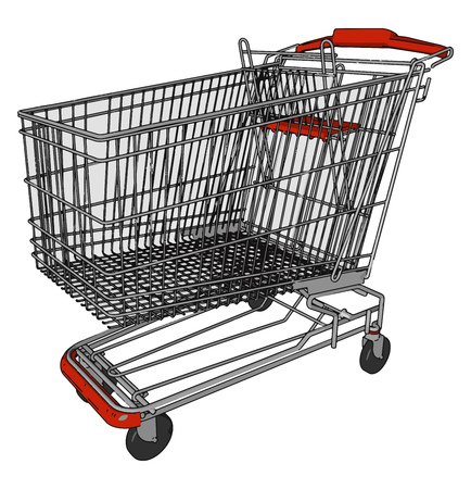 It is used by customers inside the shop for transport of merchandise to the checkout counter during shopping vector color drawing or illustration 向量圖像