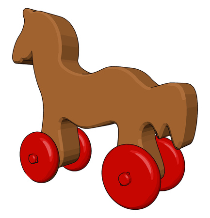 It is a little horse toy which have four wheels used for child play made up of wood vector color drawing or illustration Ilustração
