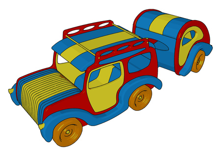 Multicolored toy vehicle with six wheels and boogie to carry something vector color drawing or illustration
