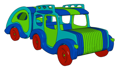 A toy car is kept on the shelf of a shop looking so unique and every child wants to play with it vector color drawing or illustration