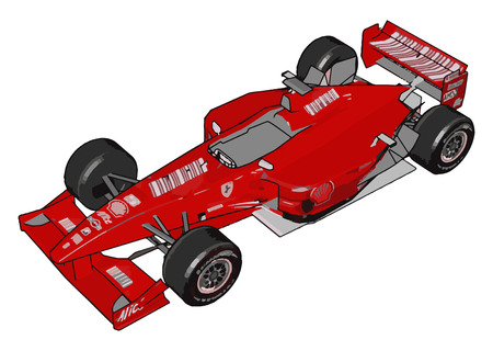 A red color sports toy car is grasping the attention with its unique design vector color drawing or illustration