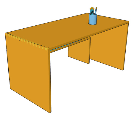 A wooden table with no legs only plated support having pen stand with so many pens vector color drawing or illustration
