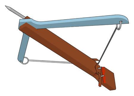 A bow is a semi-rigid but elastic arc with a high-tensile bowstring and arrow is a projectile with a pointed tip vector color drawing or illustration