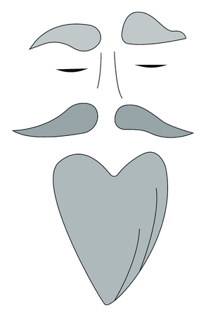 A face with grey facial hair of long beard vector color drawing or illustration
