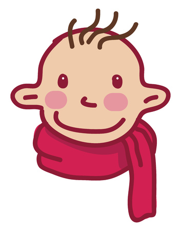 A big eared baby boy wearing a pink neck scarf vector color drawing or illustration