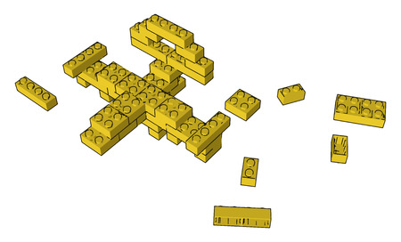 Yellow colored blocks on the floor and one blocked toy kept on ground vector color drawing or illustration Ilustração