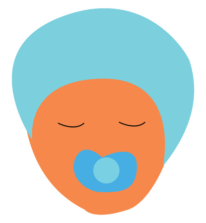 An infant with blue head cap and pacifier on mouth vector color drawing or illustration