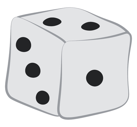 A dice part of the board game called ludo is ready to roll vector color drawing or illustration Illustration