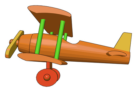 A toy biplane is a fixed-wing aircraft with two main wings stacked one above the other vector color drawing or illustration