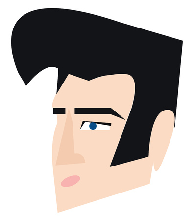 Clipart of Elvis Presley with his signature hair style vector color drawing or illustration Banque d'images - 120989223