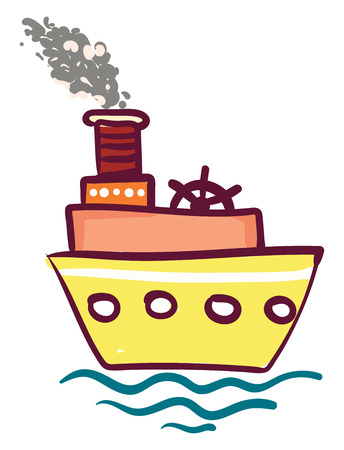 Yellow triple layered steam ship with wheel vector color drawing or illustration Illusztráció