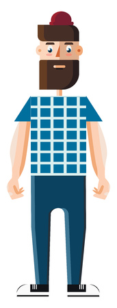 Cartoon of a man in beard is wearing blue checked sweater and pants vector color drawing or illustration Ilustrace