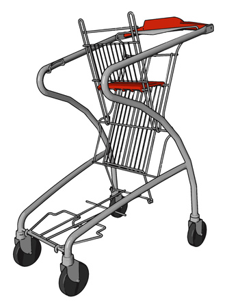 A shopping cart in folding position kept stationary as no one is using it this time vector color drawing or illustration 写真素材 - 123452052