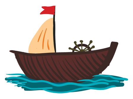 A wooden sailing boat with red flag and ships wheel ready to take the ride vector color drawing or illustration Illusztráció