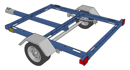 A trailer is an unpowered vehicle having two wheels towed by a powered vehicle vector color drawing or illustration