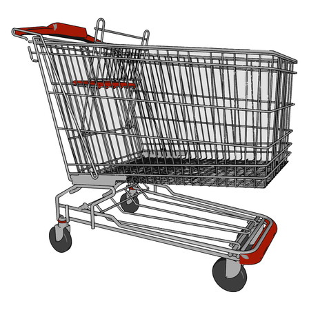 A shopping cart or trolley is a cart supplied by a shop especially supermarkets to carry things vector color drawing or illustration Illustration