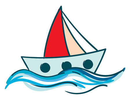 Drawing of a sailboat with red sail floating in the blue water vector color drawing or illustration