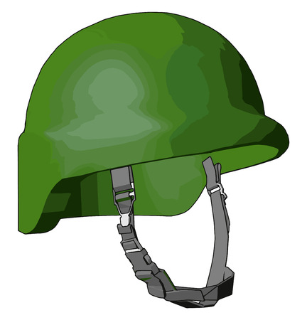 Hard hat protect from debris rain and electric shop It is made up of durable materials like metal fiber glass or rigid plastic vector color drawing or illustration