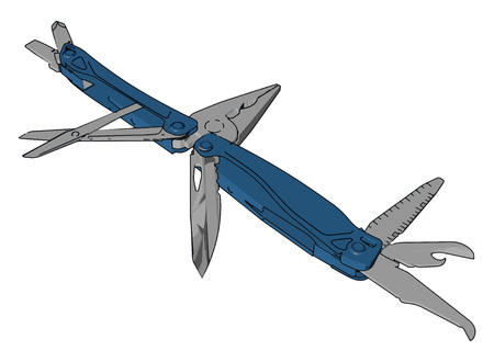 A multi-tool is any one of a range of portable versatile hand tools that combines several individual functions in a single unit vector color drawing or illustration