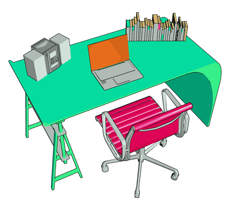 Desk chair usually use a single distinctive load bearing leg (often called a gas lift) which is positioned underneath the chair seat vector color drawing or illustration Illustration