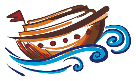 Painting of a brown sailing boat in blue water with red flag vector color drawing or illustration Vectores