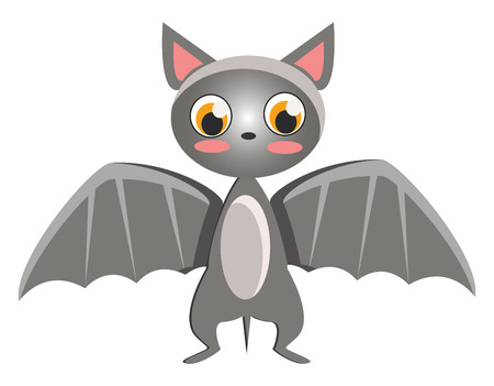 A cute little bat spreading the grey wings vector color drawing or illustration