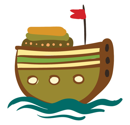A wooden round ship with red flag is floating on the water vector color drawing or illustration Illusztráció