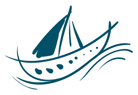 Painting of a sailing boat with blue color paint vector color drawing or illustration Illusztráció