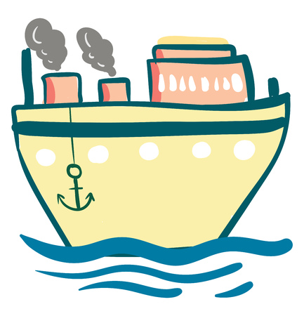 A light yellow steam ship with its anchors down vector color drawing or illustration Illusztráció