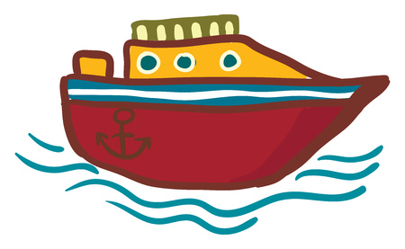 A red and yellow modern yacht with design of anchor on its body vector color drawing or illustration Illusztráció