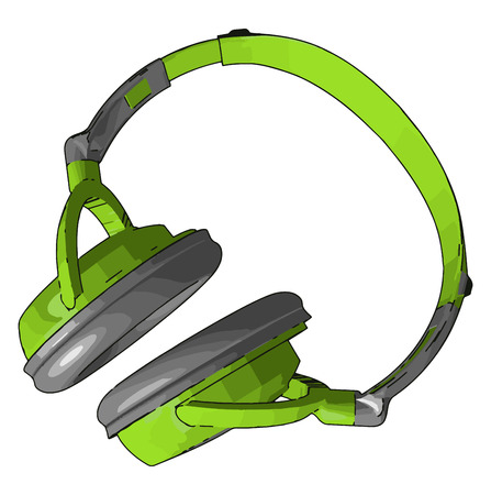 Head phones allow a single user listen to an audio source privately in contrast to a loudspeaker vector color drawing or illustration