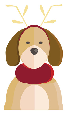 A dog with horn costume and red scarf on neck vector color drawing or illustration Иллюстрация