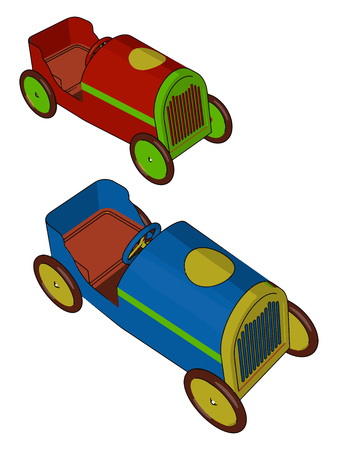 Two attractive cars with comparatively big engines are moving on floor without driver vector color drawing or illustration Ilustracja