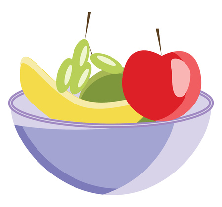A basket full of various fruits like apple banana pears and grapes vector color drawing or illustration
