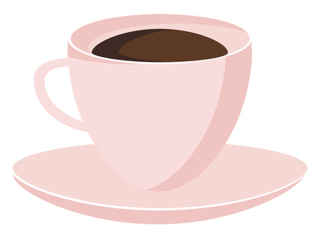 Hot beverage is being served in a cup plate dish vector color drawing or illustration