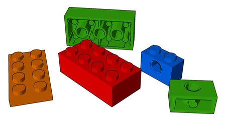 These colorful blocks improve children coordination creativity and imagination power by playing vector color drawing or illustration
