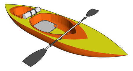 A sea kayak or touring kayak is kayak developed for the sport of paddling on open waters of lakes bays and the ocean vector color drawing or illustration