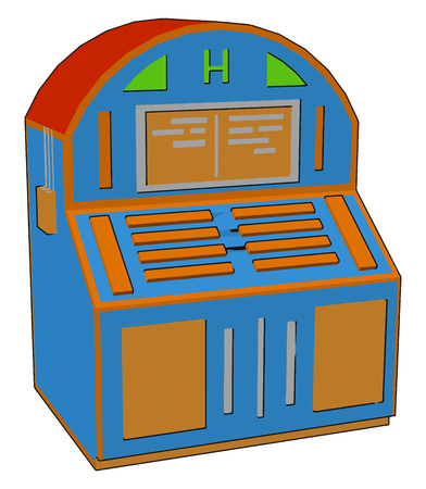 A colorful box-shaped piece of furniture with doors and drawers for storing items also called cabinet vector color drawing or illustration 向量圖像
