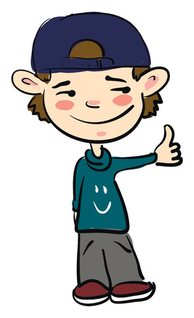 A young boy dressed in loose clothes is showing thumbs up vector color drawing or illustration